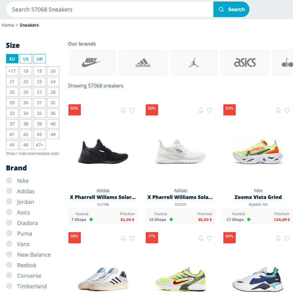 Sneaker search engine Image