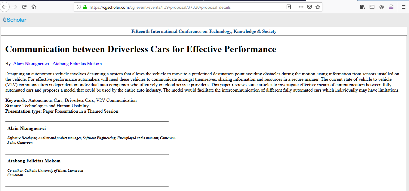 Communication between driverless cars for effective performance: Vehicle to Vehicle communication Image